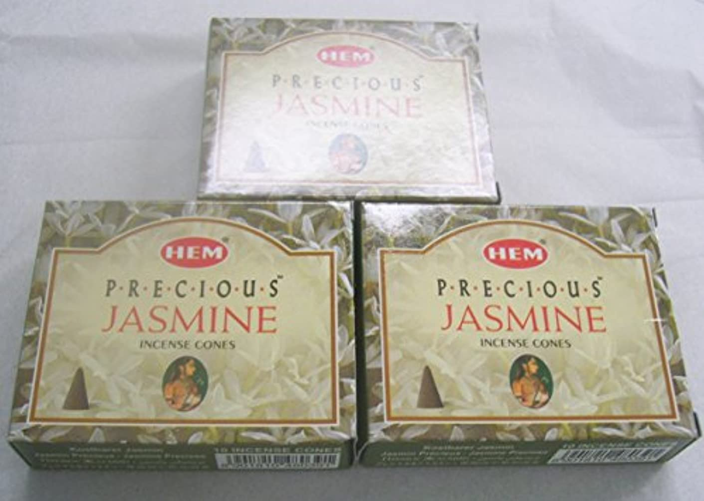 スポーツをする短くするブラシHem Precious Jasmine Incense Cones、3パックの10 Cones = 30 Cones