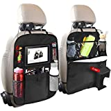 Car Back Seat Organizer, 2 Pack of Oxford Waterproof Car Seat Protector with Touch Screen Tablet Holder, Multi-Pocket Car Storage Bag for Kids and Toddlers(Include a Tissue Bag)