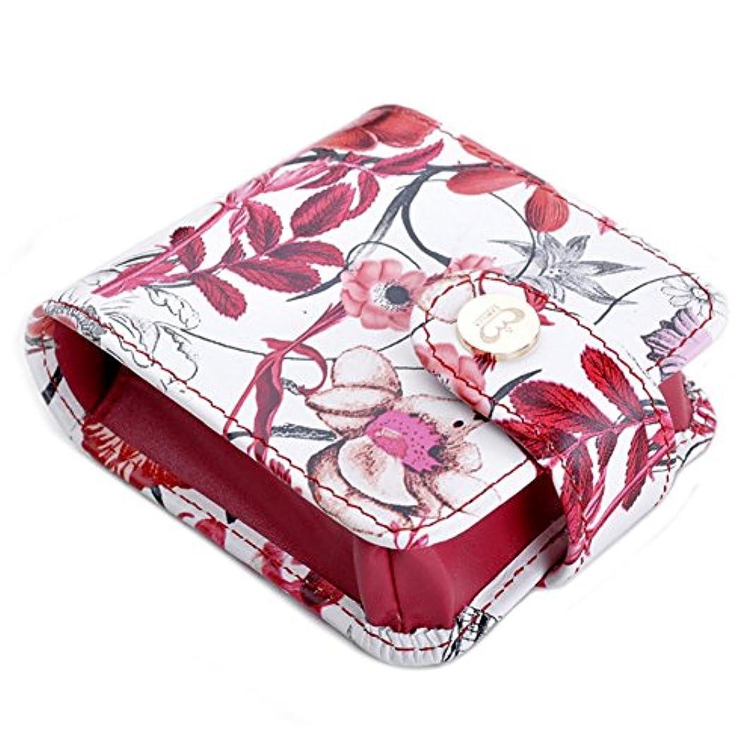 ペット引っ張る下にBoshihoリップケース ミラー付き かわいい 実用 鏡付け口紅ケール 化粧ケース鏡付け携帯便利 プレゼント 旅行 小物 二色 おしゃれ レディース (赤)