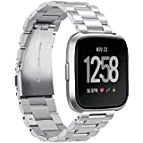 """Marvel.P for Fitbit Versa Bands, Stainless Steel Metal Replacement Bracelet Strap Bands, for 5.7""""-8.27"""" Wrist Men & Women, with for Fitbit Versa Sports Smart Watch Fitness, Tool Including."""