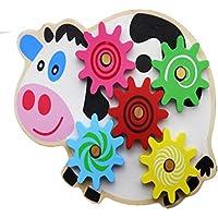 幼児期のゲーム 小さな赤ちゃんおもちゃの木製パズル動物牛カタツムリのギアゲーム(牛)