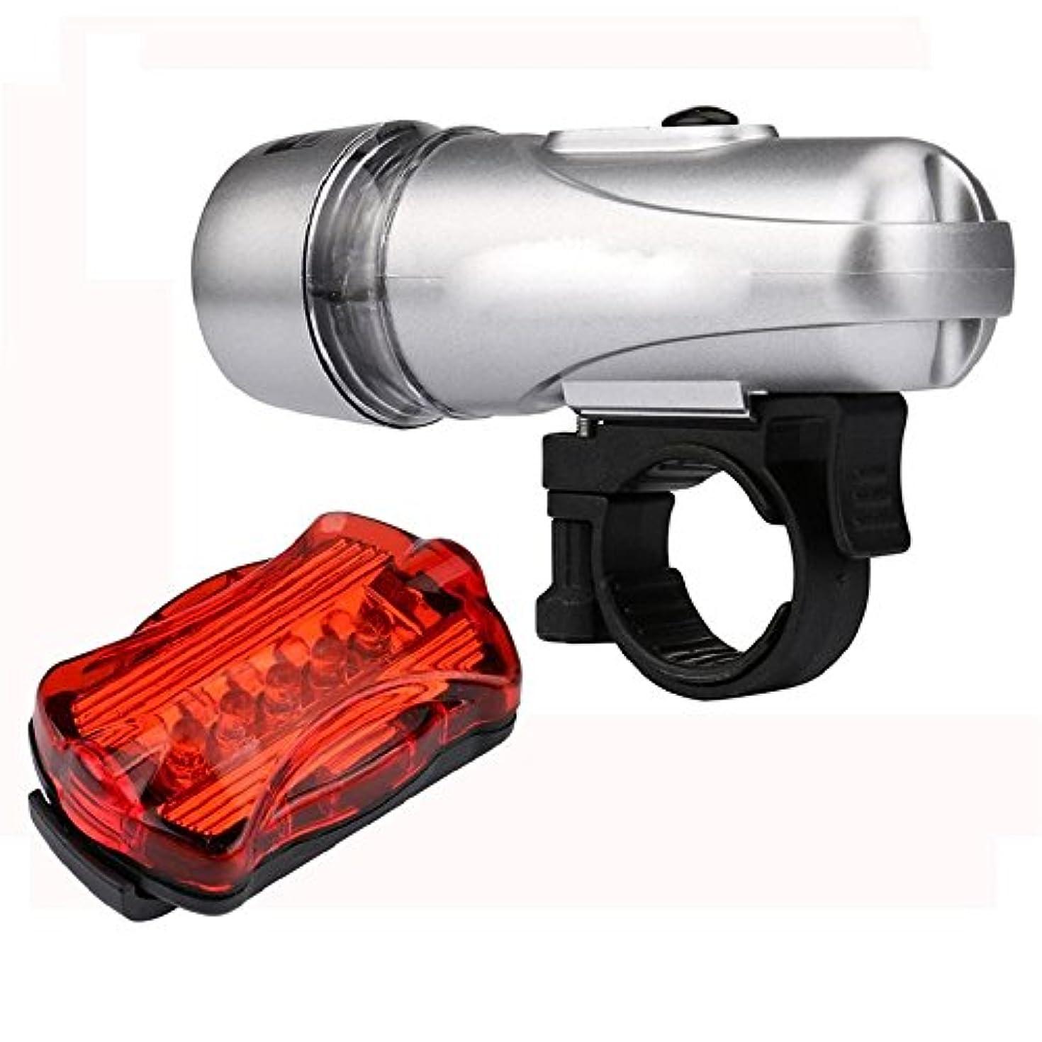 天教育するオーブンUSB充電式自転車ライト マウンテンバイクライドヘッドライトテールライト-LED自転車1ヘッドライト1テールライトロードバイクヘッドライト (色 : 銀)