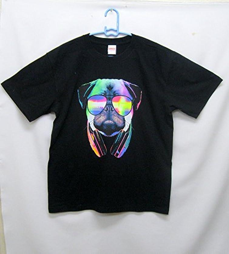 系統的簡単に研磨剤Tシャツ/犬柄/パグ/DJパグ (XL, ブラック)