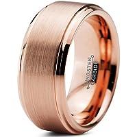 Charming Jewelers Tungsten Wedding Band Ring Black 10mm Men Women Comfort Fit 18k Rose Gold Step Edge Brushed Polished