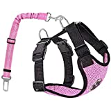 AutoWT Dog Safety Vest Harness, Pet Car Harness Dog Safety Seatbelt Breathable Mesh Fabric Vest with Adjustable Strap for Tra