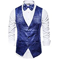 chenshiba Mens Glitter Sequins Single Breasted Waistcoat Costume Business Tie Vest