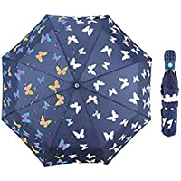 iMucci Butterfly Umbrella for Sun Protection-Changing Color UV 40+ Travel Umbrella Lightweight Auto Open Outdoor Umbrella