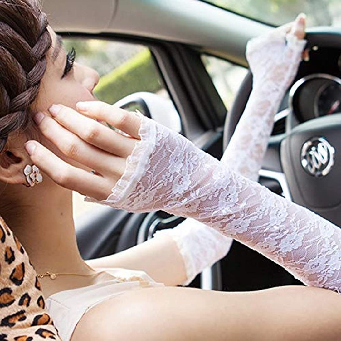 縫い目読書をする矢印グローブレディース 指なし アームカバー 薄手 紫外線対策 ロング レース 夏日焼け止め手袋フ