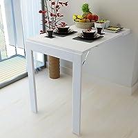 ERRU ダイニングテーブル- ヨーロッパスタイルの折り畳み式コンピュータデスクウォールマウントソリッドウッドキッチンダイニングテーブルカラー (色 : 白)