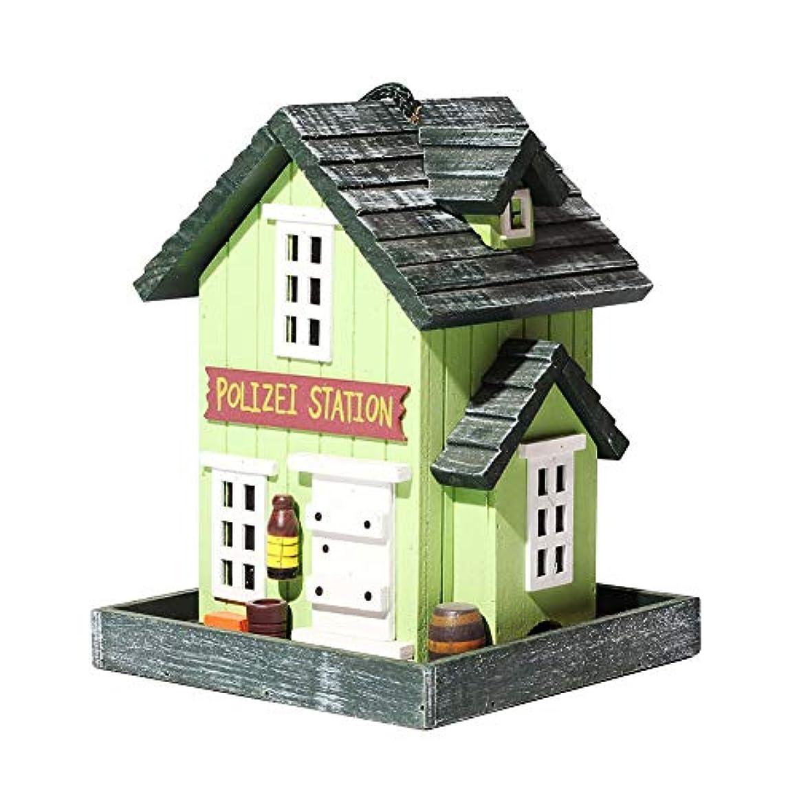 指紋コードレス懲戒バードフィーダー、ハウスシェイプの外側のハンギングバードハウスキット、庭の装飾,グリーン