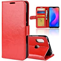 Xiaomi Mi A2 Lite ケース、MeetJP 携帯電話ケース 高級レザーケース スキン 手帳型 スキン Xiaomi Mi A2 Lite 革カバー(Red)
