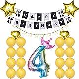 Amosfun パンダ ハッピーバースデー バナー 星 ハート型 ラテックス風船セット プリンセス 赤ちゃん 女の子 パーティー用品 (番号4)