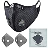 Colbiz Dust Face Mask Reusable with Activated Carbon Filters Protective Face Masks, Breathable Adjustable Sports Mask for Running Cycling Mowing Woodworking Outdoor Activities