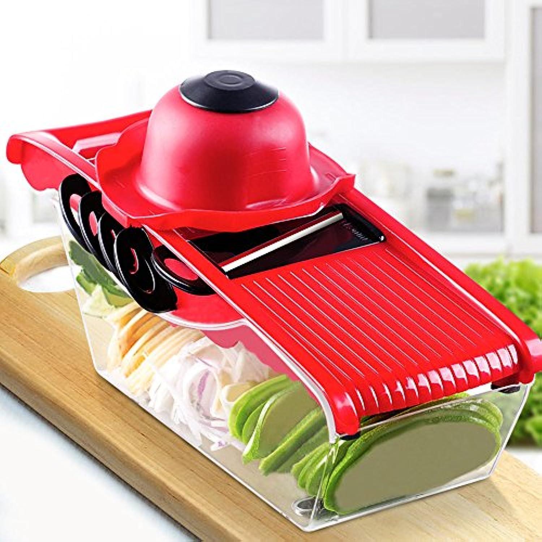 beaut ハンドルついてみじん切り器、切りセット、ハンドルを付け食材を固定して手を守る、みじん切り器セット 多様手動みじんきり器セット(01050038) (赤い)
