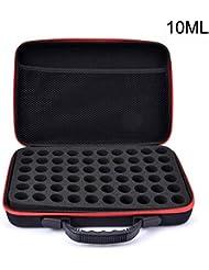 エッセンシャルオイル収納バッグ 精油収納ケース 化粧ポーチ 大容量 60本仕切り 耐震 耐衝撃 ハンドル付き 持ち運びに便利 10ml?15ml用2種類選べる ブラック junexi