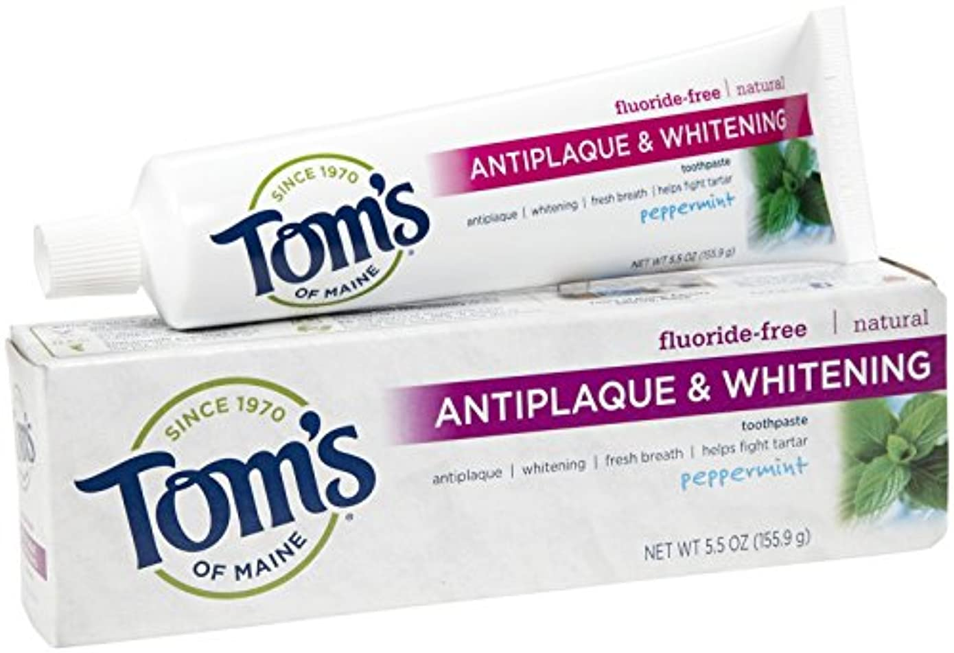 歩道いわゆる悪意のある海外直送品 Tom's Of Maine Toms Of Maine Antiplaque And Whitening Natural Toothpaste Peppermint, Peppermint 5.5 Oz