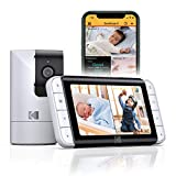 "KODAK CHERISH C525 Smart Baby Monitor- 5.0"" display HD Camera & Mobile App, Remote Pan/Tilt/Zoom, Two-way audio and Night vision"