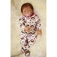 Monkey Pink Sleeping Girl Baby Doll Reborn 22 Inch 55 cm Princess Babies Toy Lifelike Dolls With Hair Kids Birthday Xmas