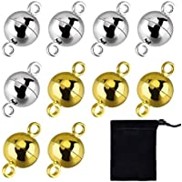 (Gold and Silver) - 10 Pieces Jewellery Magnetic Clasps Round Magnetic Clasps for Bracelet Necklace Making, 8 mm (Gold and Silver)