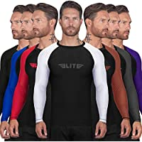 Elite Sports BJJ Jiu Jitsu Rash Guards, Men's BJJ, No GI, MMA Ranked Full Sleeve Compression Shirt Base Layer Athletic Rash Guard