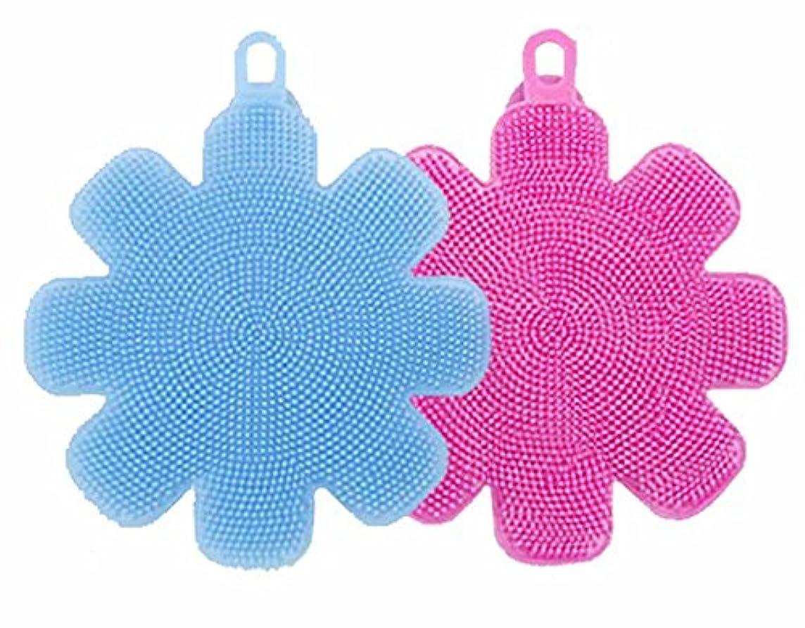 知覚的バッジ申し立てられたソフトウォッシュ シリコンブラシ2色組