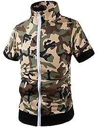 maweisong Men's Stand Collar Coat Casual Camo Print Short Sleeve Zipper Shirts