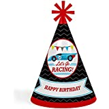 Let 's Go Racing – Racecar – 円錐Race Car Happy Birthday Party Hats for Kidsと大人のセット – 8 (標準サイズ)