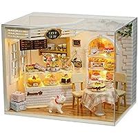 CUTEBEE ドールハウス ミニチュア 家具 DIY ドールハウスキット 防塵 音楽ムーブメント 1:24スケール クリエイティブな部屋のアイデア (ケーキの文字)