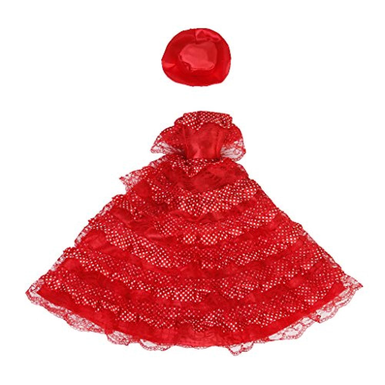 【ノーブランド品】ドール用 人形用 ドレス レース 帽子付 全3色 アクセサリー (レッド)