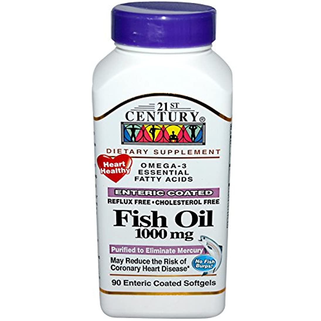 失望防ぐどこ21st Century Health Care, Fish Oil, 1000 mg, 90 Enteric Coated Softgels