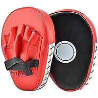 Junboys PUレザー パンチング キックパームパッド フックジャブ ストライクパッド ボクサー ターゲット フォーカス パンチミット パッド ボクシングミット グローブ カーブドトレーニング用 空手コンバット ムエタイ キックボクシング UFC MMA (赤)