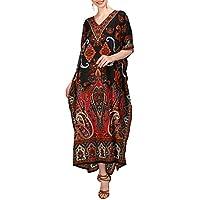 Miss Lavish London Women Kaftan Tunic Kimono Free Size Long Maxi Party Dress for Loungewear Holidays Nightwear Beach Everyday Cover Up Dresses #104