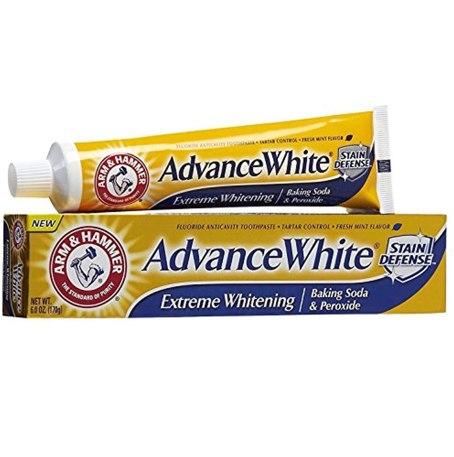 バッグ操作はず【6本セット】【海外直送品】ARM&HAMMER Advance White Baking Soda & Peroxide 6oz(170g)x6本