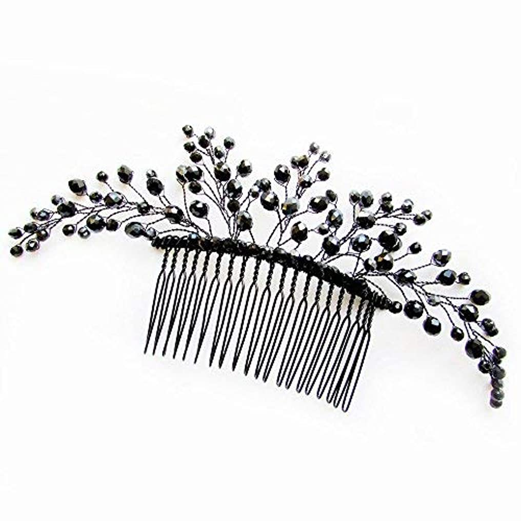 Missgrace Black Hair Comb Halloween Special Occasion Headpiece Black Hair Accessories [並行輸入品]