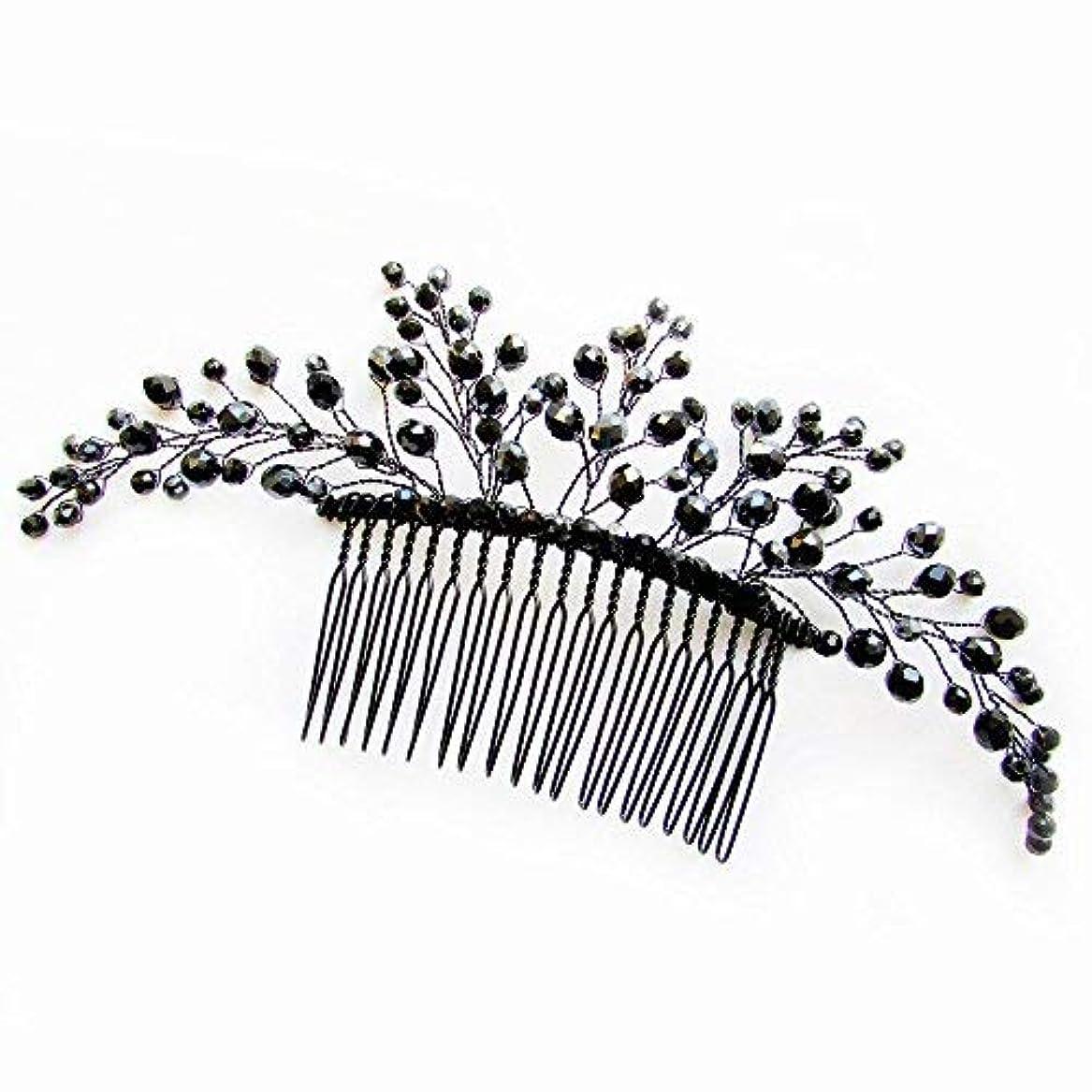 手紙を書くあいさつ壮大なMissgrace Black Hair Comb Halloween Special Occasion Headpiece Black Hair Accessories [並行輸入品]