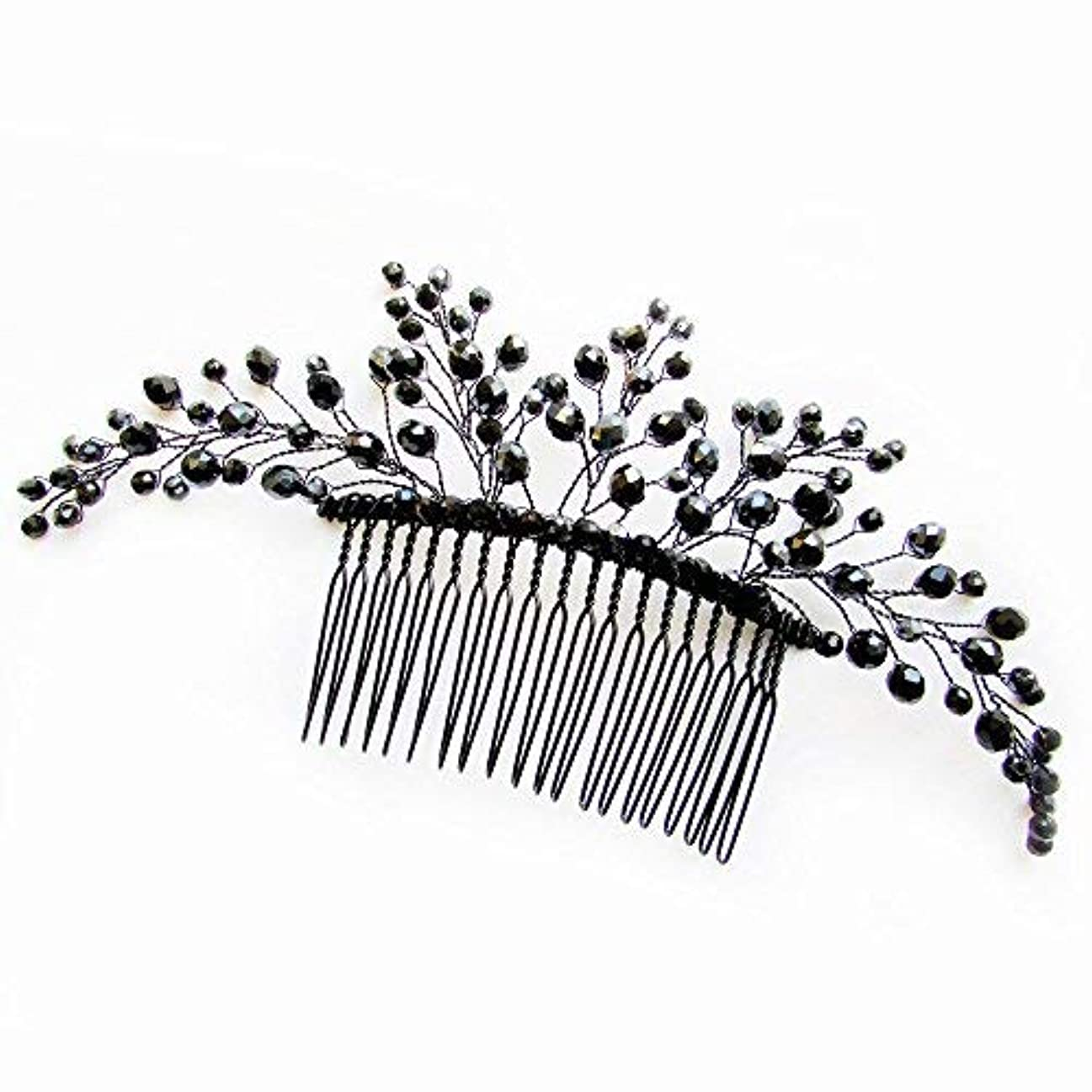 投獄に向けて出発独立したMissgrace Black Hair Comb Halloween Special Occasion Headpiece Black Hair Accessories [並行輸入品]