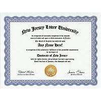 New Jersey Lover New Jerseyite New Jerseyan Degree: Custom Gag Diploma Doctorate Certificate (Funny Customized Joke Gift - Novelty Item) by GD Novelty Items [並行輸入品]
