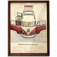 フォルクスワーゲン タイプ2 バス 1960年代 ビンテージ広告 ポスター アートフレーム 額付