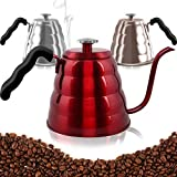 Pour Over Coffee Kettle with Thermometer-Flow Gooseneck Tea Kettles-Brew Barista-Standard Hand Drip Coffee Suitable all Stovetops and Induction, BPA Free, 40oz,Red