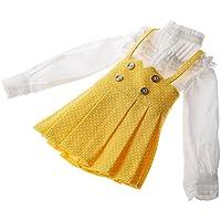 【ノーブランド品】1/3 BJD人形用 かわいい アクセサリー セット 水玉 サスペンダースカート 白いブラウス 全3色選べ - 黄 白