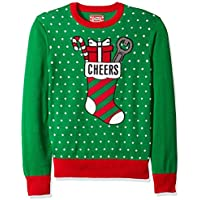 Hybrid Men's Cheers Ugly Christmas Sweater with Bottle Holder Applique