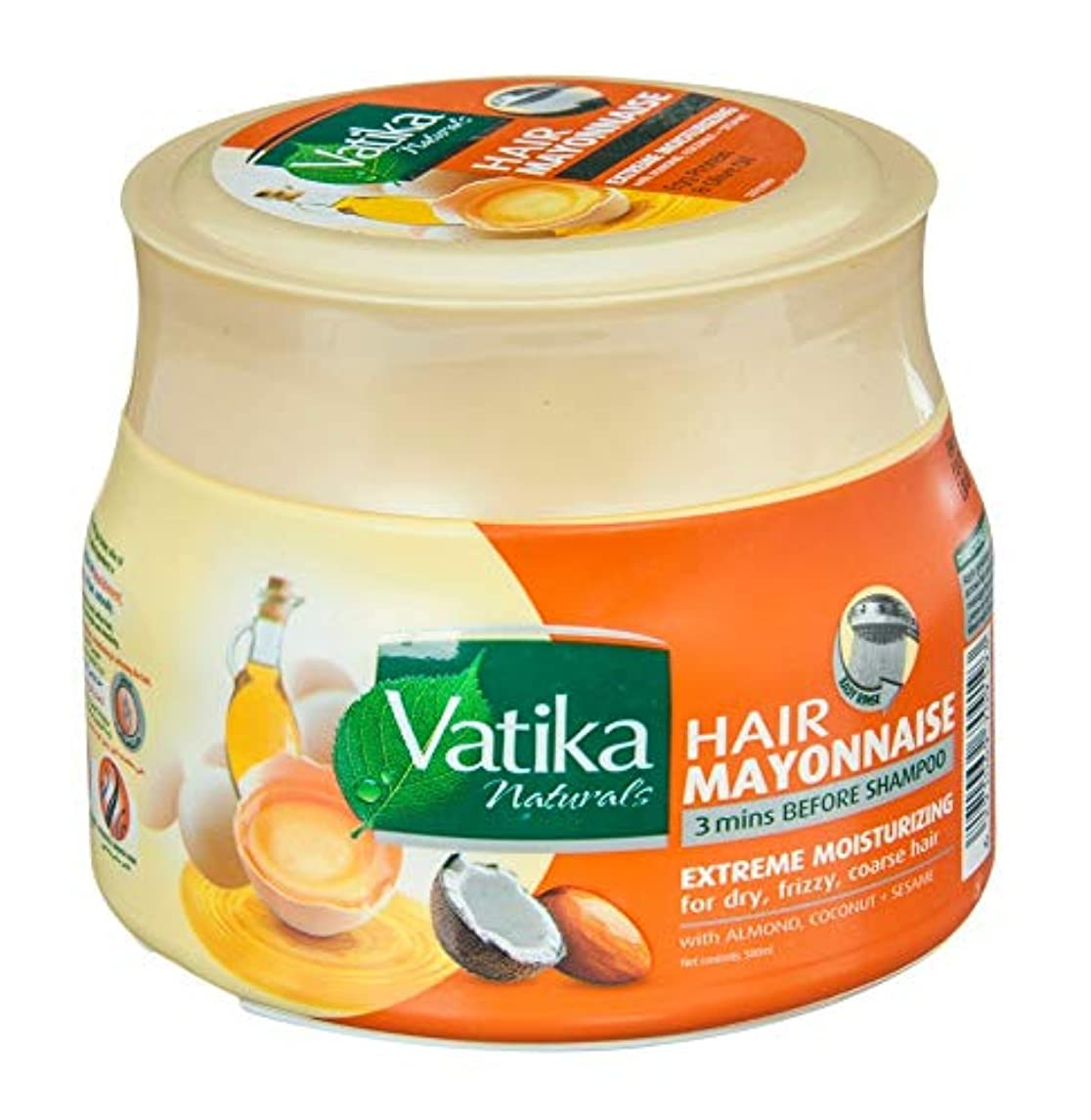 有彩色の彼女自身傾いたNatural Vatika Hair Mayonnaise Moisturizing 3 mins Before Shampoo 500 ml (Extreme Moisturizing (Almond, Coconut, Sesame))