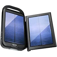 再活性化6000mAhポータブル充電器ソーラーパワーバンクwith Extra取り外し可能ソーラー充電パネル–5V 2.1A USBアウトドアパックwith LED懐中電灯、カラビナクリップ、バッテリー電源ステータスメーター