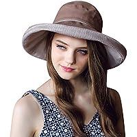 d6b382e46de Women UPF 50+ Bucket Sun Hat UV Protection Sun Hats Packable Summer Hat  Ladies Adjustable Fold-Up Wide Brim Roll Up Floppy Cotton Beach…