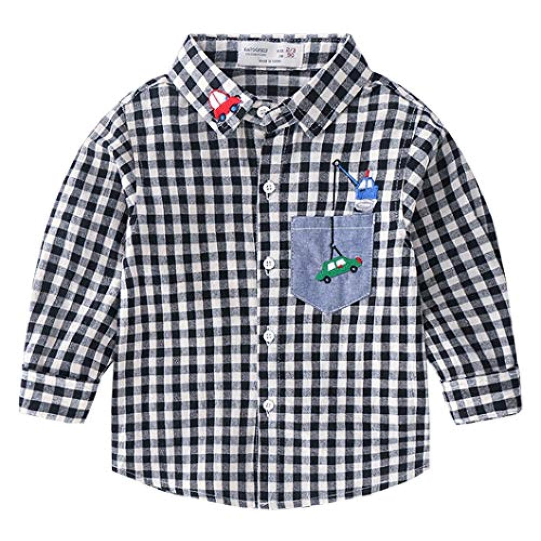 ALLAIBB こども服 シャツ 長袖 男の子 格子柄 ベビーTシャツ ボタンダウンシャツ 車柄 春 秋 かわいい size 100 (ブラック)