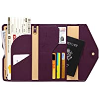 Zoppen Mulit-Purpose RFID Blocking Travel Passport Wallet (Ver.4) Tri-fold Document Organizer Holder, 7 Rose