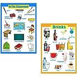 B Baosity 学習ポスター ウォールチャート 壁ポスター ポスター 知育玩具 英語学習 飲み物&教室 2枚