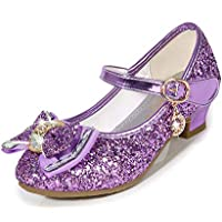 Amtidy Little Girls Mary Jane Wedding Party Shoes Glitter Bridesmaids Low Heels Princess Dress Shoes