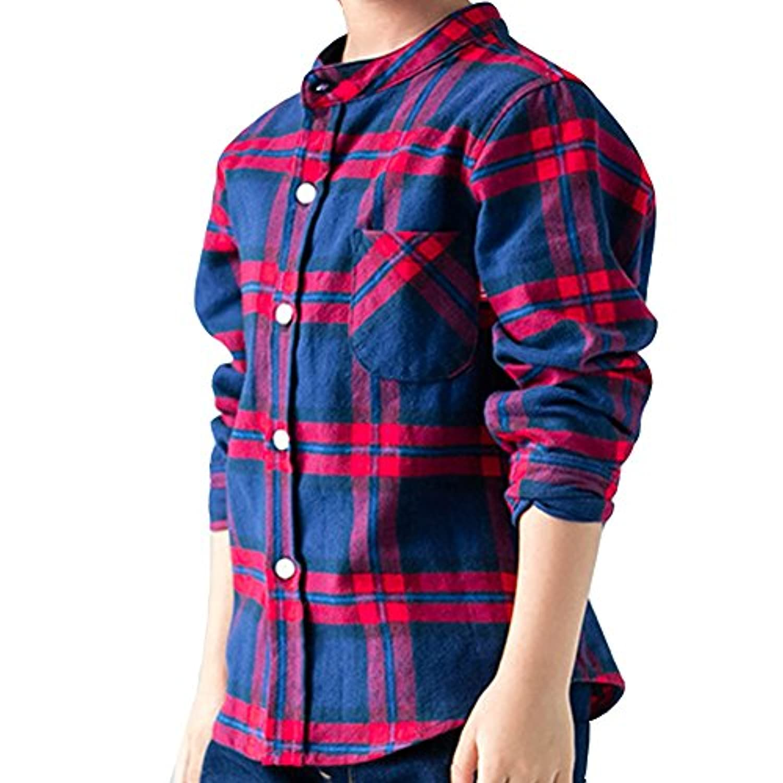 ZUOMA子供服 男の子シャツ キッズシャツ 秋の新番 男の子の上着 スタントカラー ワイシャツ  長袖シャツ チエックシャツ