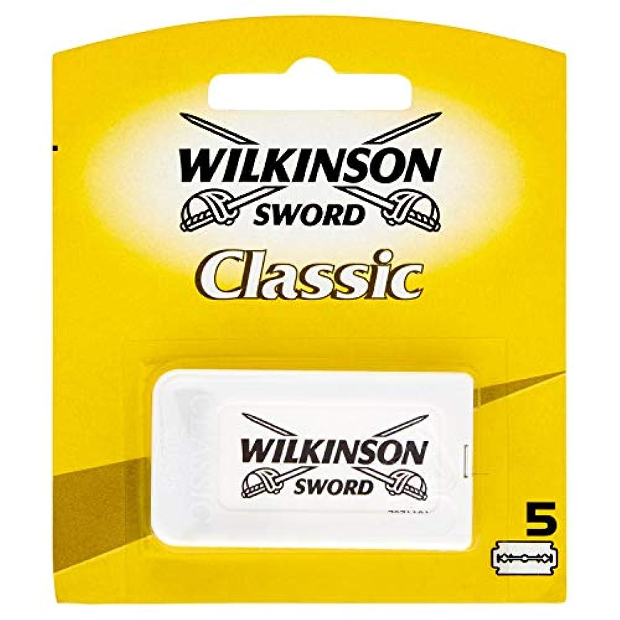断線財政楽しむWilkinson Sword(ウィルキンソンソード) Classic 両刃替刃 5個入り [並行輸入品]